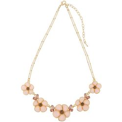 Napier Gold Tone Mosaic Flower Front Necklace