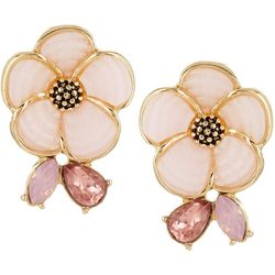 Napier Gold Tone Mosaic Flower Button Stud Earrings