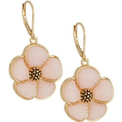 Napier Gold Tone Mosaic Flower Leverback Earrings
