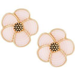 Napier Gold Tone Mosaic Flower Button Clip On Earrings