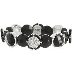 Napier Black Multi-Faceted Stone Beaded Stretch Bracelet