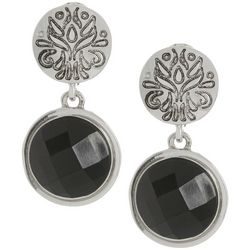 Napier Jet Theory Stone Silver Tone Clip On Earrings