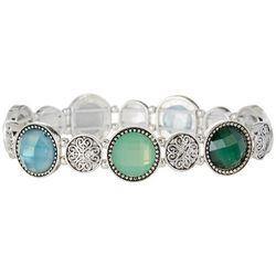 Napier Blue & Green Stones Silver Tone Stretch Bracelet