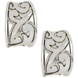 Napier Silver Tone Filigree Hoop Clip On Earrings