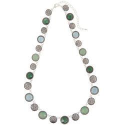 Napier Blue & Green Stones Silver Tone Collar Necklace