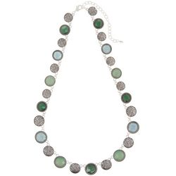 Napier Blue & Green Stones Silver Tone Collar Necklace