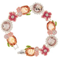 Napier Boxed Pink Flowers & Abalone Link Bracelet