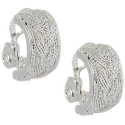 Napier Silver Tone Wide Textured Clip On Earrings