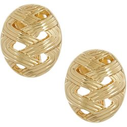 Napier Gold Tone Textured Dome Clip On Earrings