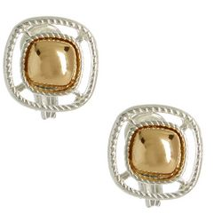 Napier Two Tone Small Square Clip On Earrings