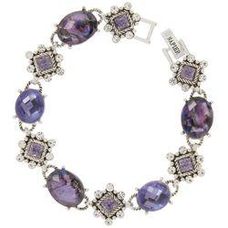 Napier Purple Abalone Shell & Rhinestone Bracelet