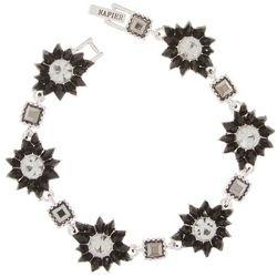 Napier Black Flower & Clear Stones Linked Bracelet