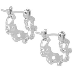Napier Small Textured Silver Tone Hoop Earrings