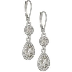 Napier Clear Rhinestones Double Drop Earrings