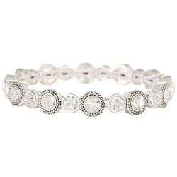 Napier Bezel Set Clear Stones Stretch Bracelet