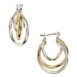 Napier Two-Tone Twist Hoop Earrings
