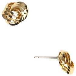 Napier Gold Tone Small Knot Button Earrings