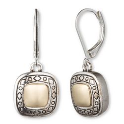 Napier Etched Squares Dangle Earrings