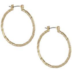 Napier 30mm Gold Tone Textured Hoop Earrings