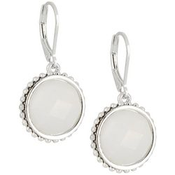 Napier Multi-Faceted Stone Silver Tone Leverback Earrings