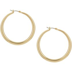 Napier Gold Tone Large 40mm Tubular Hoop Earrings