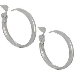 Napier Silver Tone Large 32mm Clip On Hoop Earrings