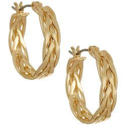 Napier Gold Tone Braided Hoop Earrings