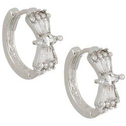 Napier Silver Tone CZ Huggie Hoop Earrings