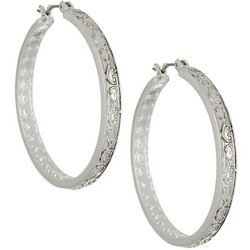 Napier Silver Tone 38mm Large Textured Hoop Earrings
