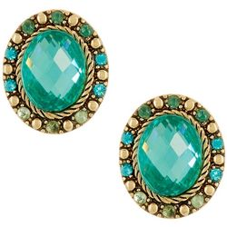 Napier Full Bloom Gold Tone Oval Button Stud Earrings