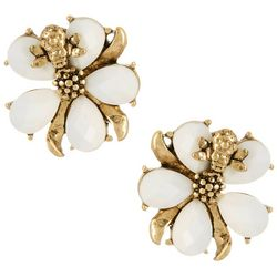 Napier White Bouquet Flower Button Clip On Earrings