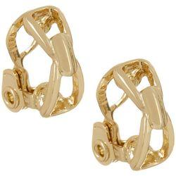 Napier Golden Vintage Gold Tone  Button Clip On Earrings