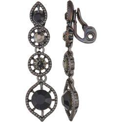 Napier Black Hematite Linear Clip Earrings