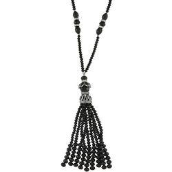 Napier Long Black Facet Beaded Tassel Necklace