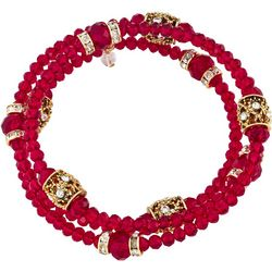Napier Red Beaded Multi Row Coil Bracelet