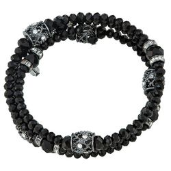 Napier Black Beaded Multi Row Coil Bracelet