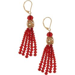 Napier Red Glass Beaded Tassel Dangle Earrings