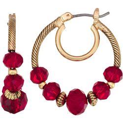 Napier Red Bead Click It Hoop Earrings