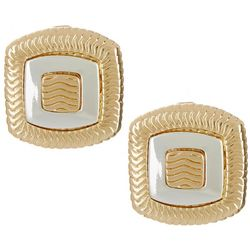 Napier Two Tone Square Button Clip On Earrings