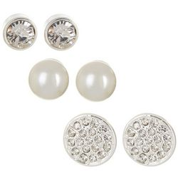 Napier Silver Tone Circle Stud & Faux Pearl Earring Set