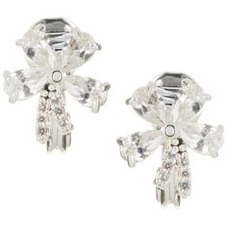 Napier Silver Tone CZ Flower Button Clip On Earrings