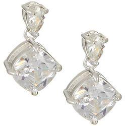 Napier CZ Double Drop Post Top Earrings