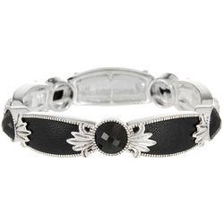 Napier Jet Black Application Silver Tone Stretch Bracelet