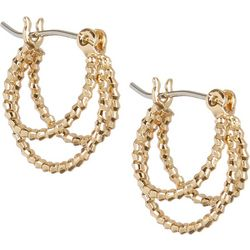 Napier Small 3 Row Click It Textured Hoop Earrings