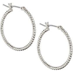Napier Silver Tone Textured Hoop Earrings