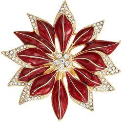 Napier Holiday Poinsettia Flower Pin