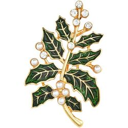 Napier Rhinestone & Faux Pearls Holiday Holly Leaf Pin