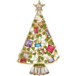 Napier Colorful Stones Christmas Tree Pin