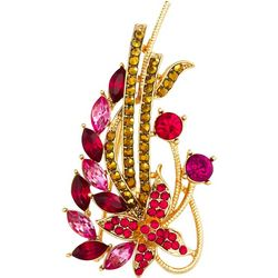 Napier Ruby Red & Bronze Gold Tone Flower Pin