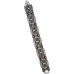 Napier Rhinestone Embellished Black Wide Link Bracelet